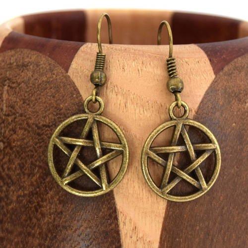 étoile à 5 branches Boucles d/'oreilles argentées pentagramme ou pentacle