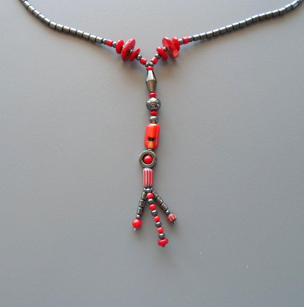 Sautoir rouge et gris en corail hématite Murano
