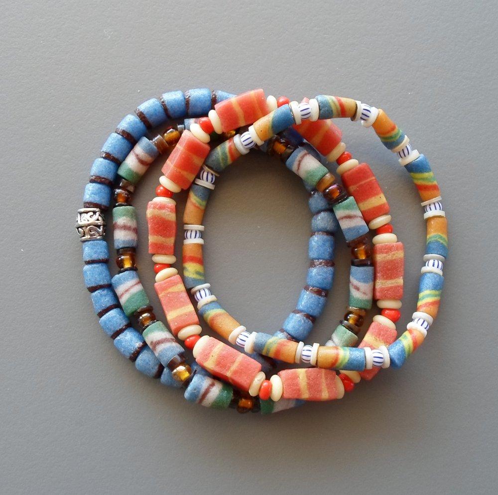 Ensemble de bracelets africains extensibles empilables pour homme ou femme bleus