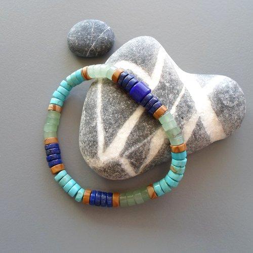 Bracelet amérindien pour homme ou femme en turquoises, lapis et aventurine surfeur heishi