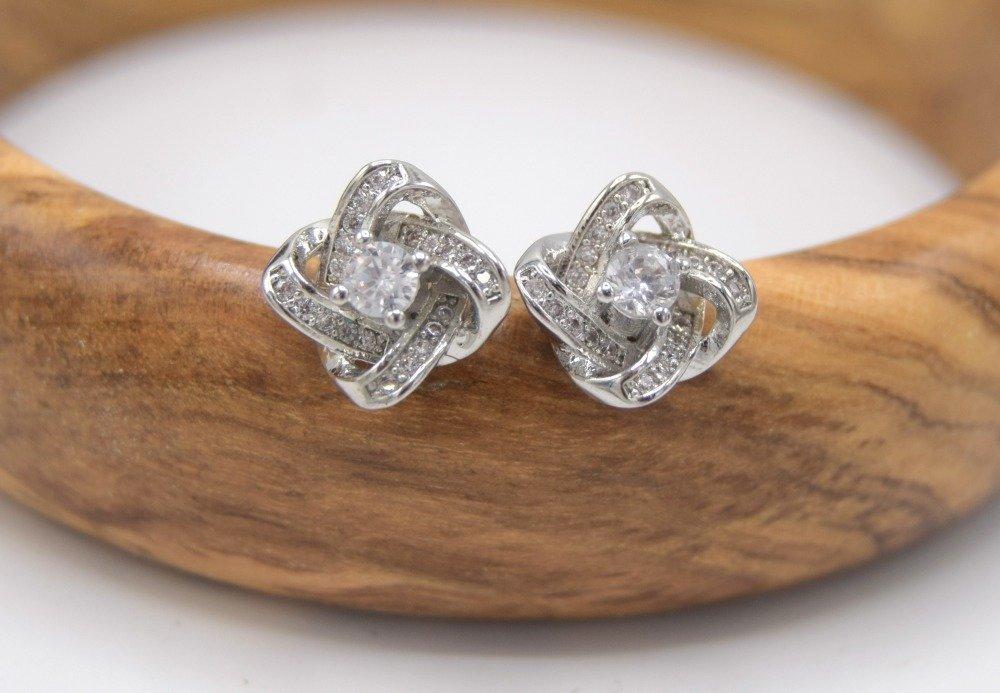 1 Paire de Puces d'oreilles Noeud Fleur cristal de Zirconium argent plaqué, cadeaux fête des mères, Bijoux De Mariage