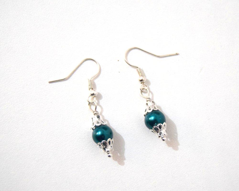 Boucles d'oreilles Victorienne perle nacrée bleu canard
