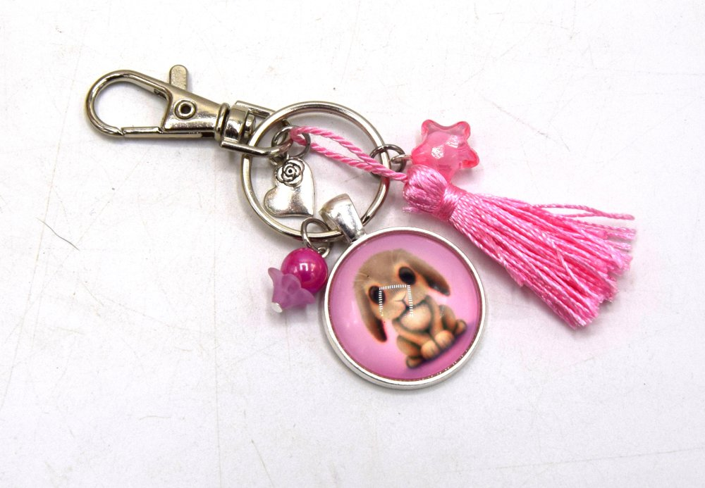 Porte-clés Lapin mignon avec coeur & étoile rose, décoration sac à main, bijoux cabochon pompon.