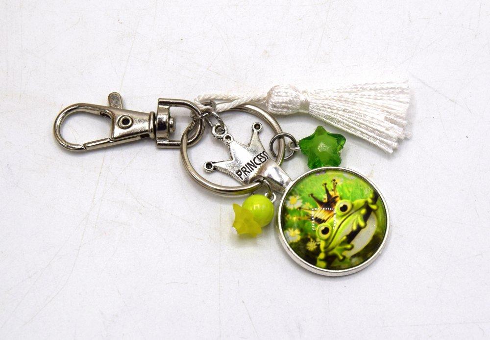 Porte clé Grenouille avec couronne & étoile blanc, décoration sac à main, bijoux cabochon pompon.