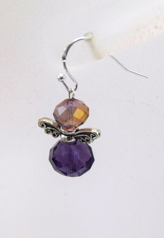 Boucles d'oreilles, perles de verre à facette (cristal) violet