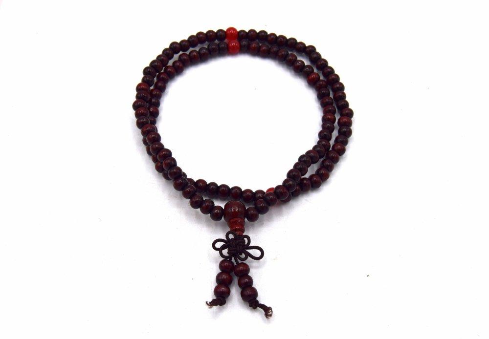 Chapelet bouddhiste/Nenju zen,karma,yoga élastique en perle de bois rouge