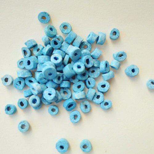 Lot de 300 perles égyptiennes en céramique brute, bleu clair