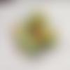 3 perles africaines krobo, en verre recyclé, vert et orange