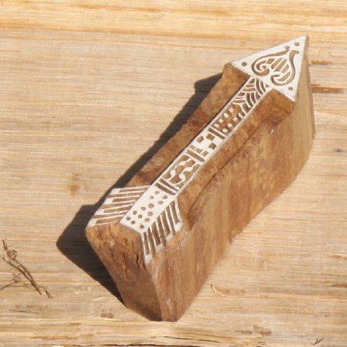 Tampon batik indien traditionnel en forme de flèche, pochoir, encreur en bois -