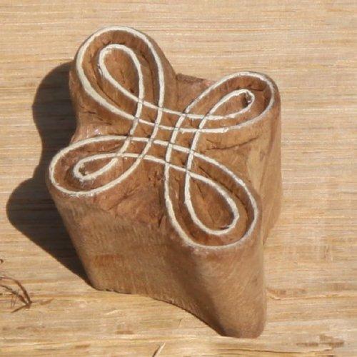 Tampon batik indien traditionnel en forme de boucles, pochoir, encreur en bois -
