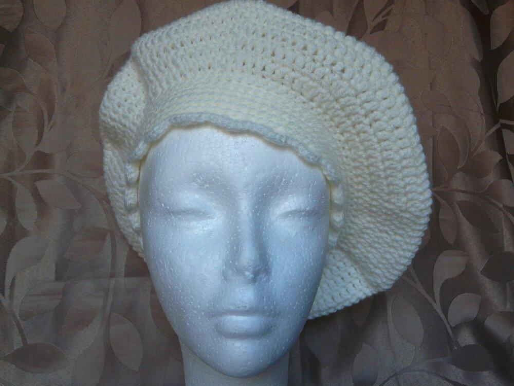 Béret Femme Ecru en laine