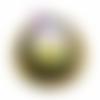 Orgone énergétique demi-sphère plate de poche orange chakra sacré et fleur de vie