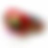 Bracelet cuir manchette rouge skulls ethnique pour homme