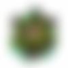 Orgone énergétique fleur de lotus ouverte et feuille d'or vert violet et turquoise