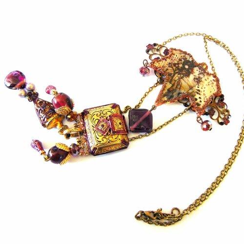 Feuille japonisante collier/sautoir pendentif style japonais