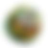 Orgonite énergétique demi-sphère à facette de poche vert fleur aux 7 chakras