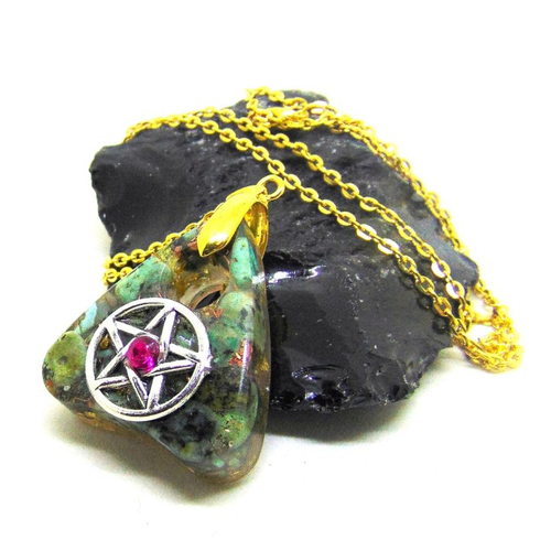 Pendentif goutte ouija turquoise et pentacle style orgone