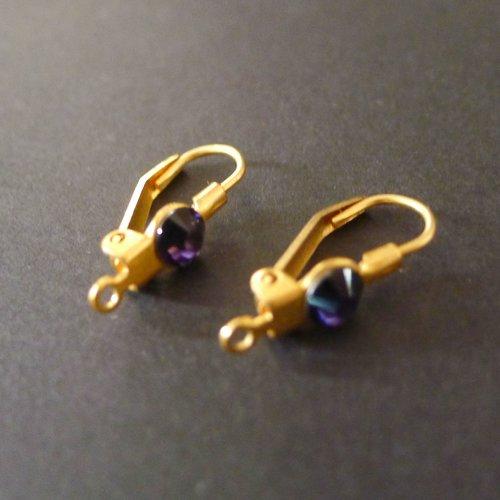 2 crochets de boucles d'oreilles dormeuse doré 20mm tige en argent 925 srass violet