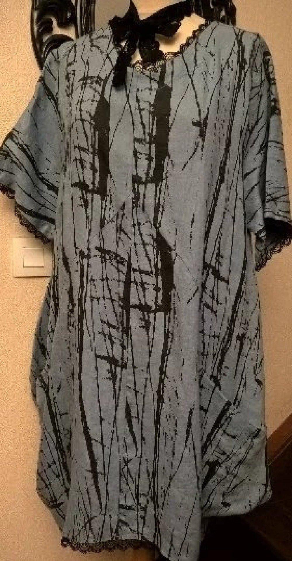 EXTRA LARGE, Robe en coton, lin imprimé et dentelle , vêtements femme, cadeau femme,