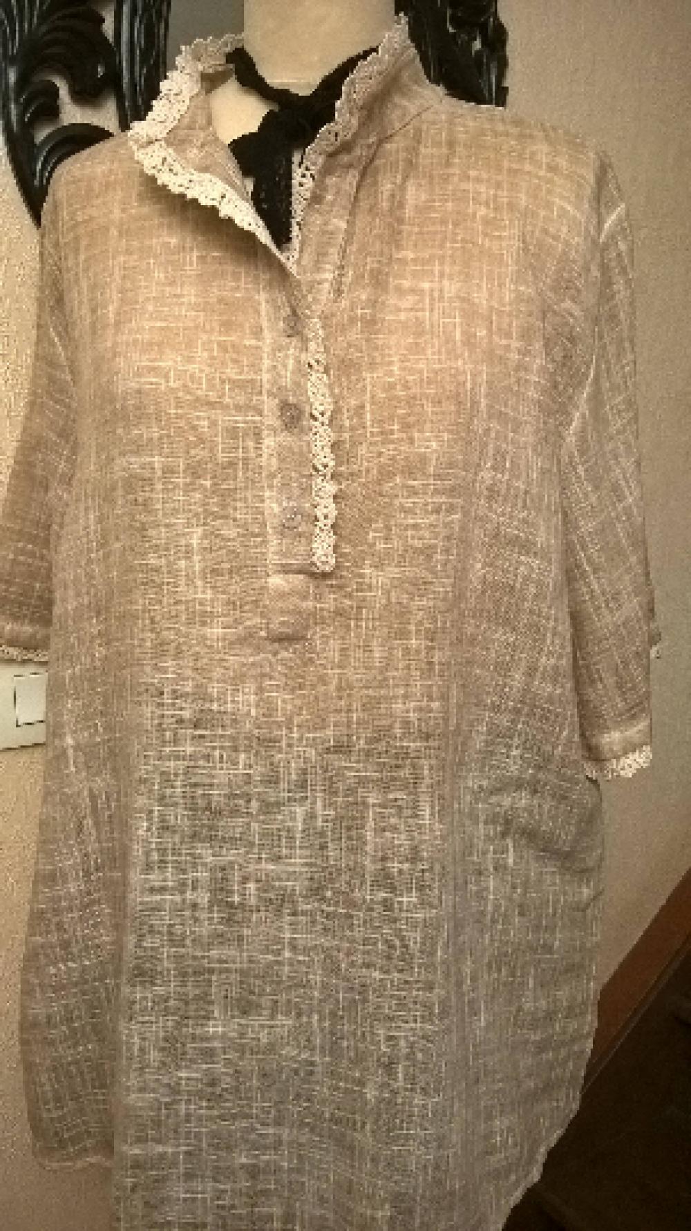 Tunique en coton et lin,de couleur beige,dentelle beige,tunique femme,tunique fille,vêtements femme,vêtements file,cadeau