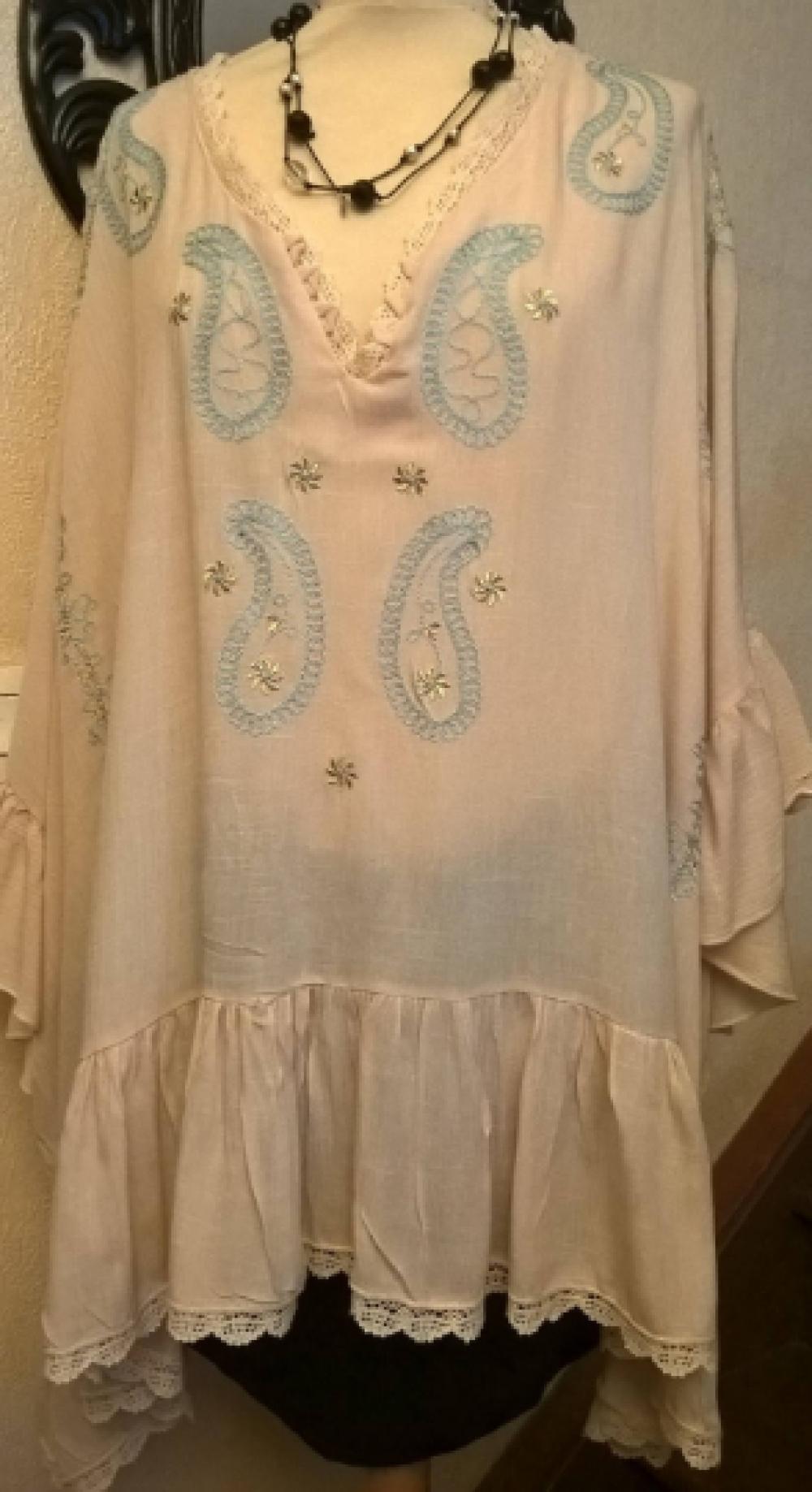 Tunique extra large,en coton et dentelle,brodé de couleur beige,tunique femme,tunique fille,vêtements femme,cadeau