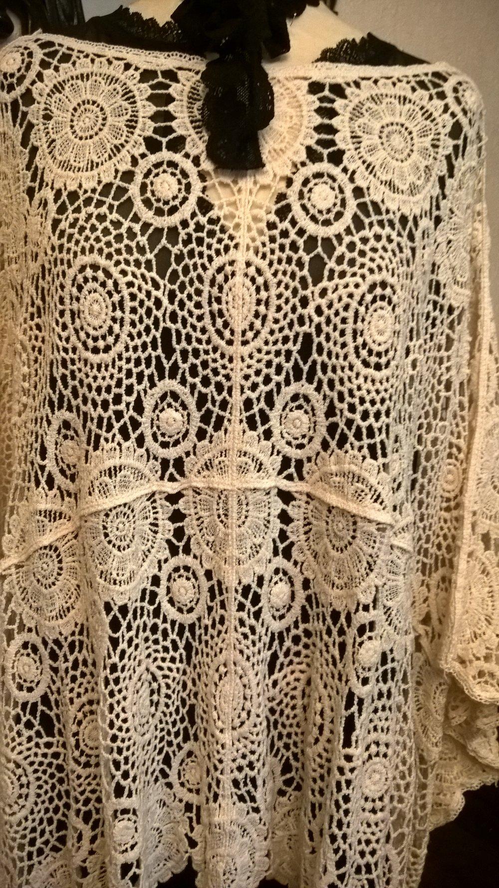 Tunique extra large,en dentelle de coton,couleur crème,tunique femme,tunique fille,vêtements femme,cadeau