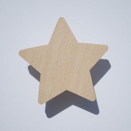 Portemanteau étoile en hêtre naturel pour chambre d'enfant / porte manteau enfant / patère