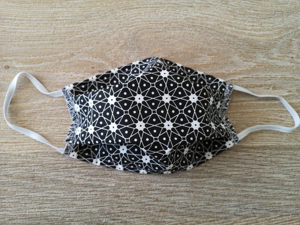 Masque de protection lavable. Motifs géométriques noir et blanc adulte