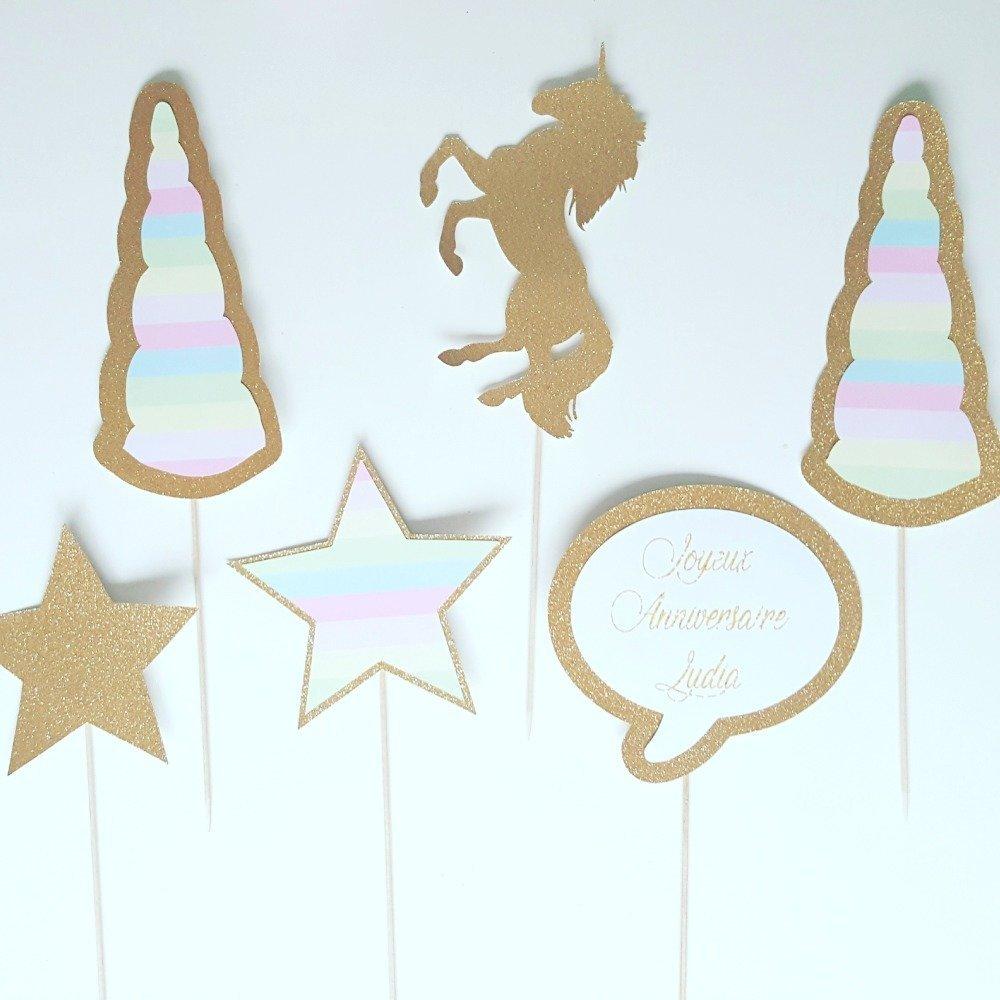 Lot de photobooth anniversaire enfant- personnalisé -licorne dorée-2 cornes arc en ciel-2 étoiles- une bulle personnaliser