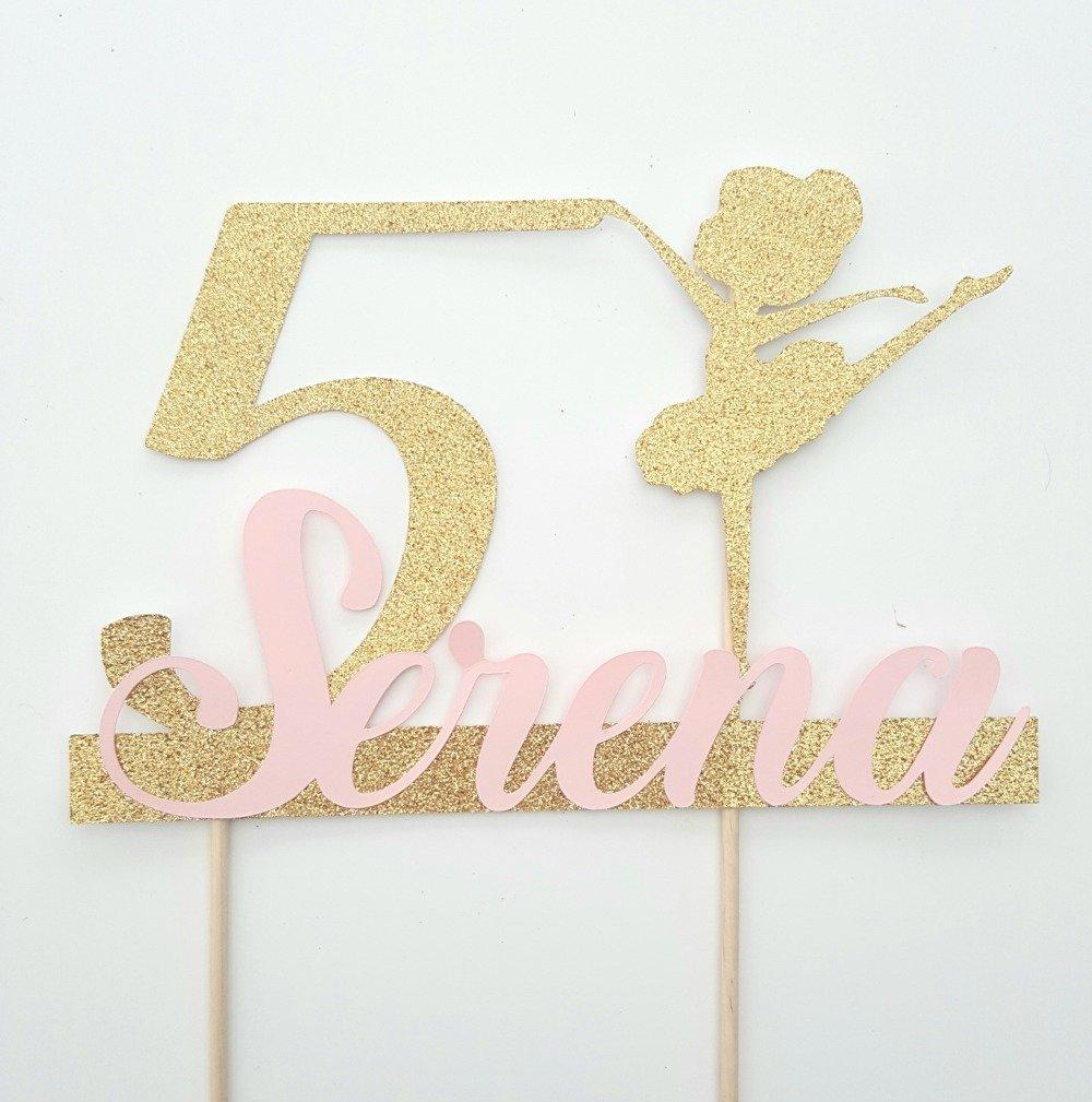 Décoration gateau - cake topper danseuse doré + age+prenom rose -fete anniversaire enfant