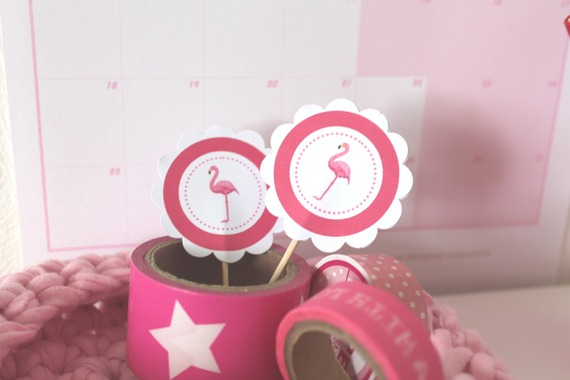 """10 décorations pour petits gateaux (cupcakes toppers ) thème """"flamant rose"""""""