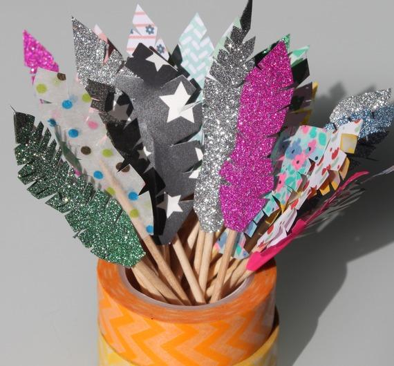 """10 décorations pour petits gâteaux (cupcakes toppers ) thème """"indiens"""""""