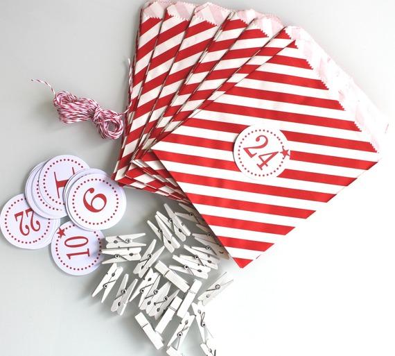 Noël : kit Calendrier de l'avent - rayé rouge et blanc