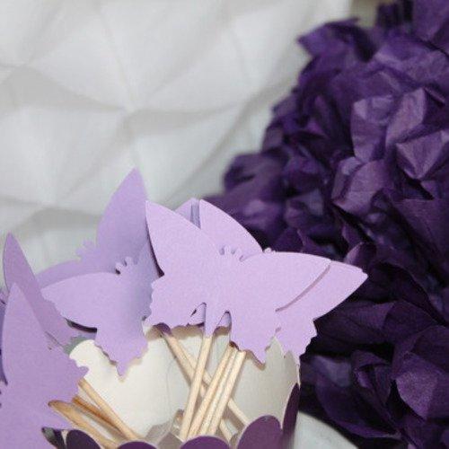 10 décorations pour petits gâteaux (cupcakes toppers )- papillons mauves