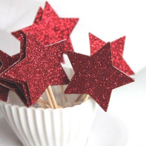 10 décorations pour petits gâteaux (cupcakes toppers )- étoiles rouges paillettes