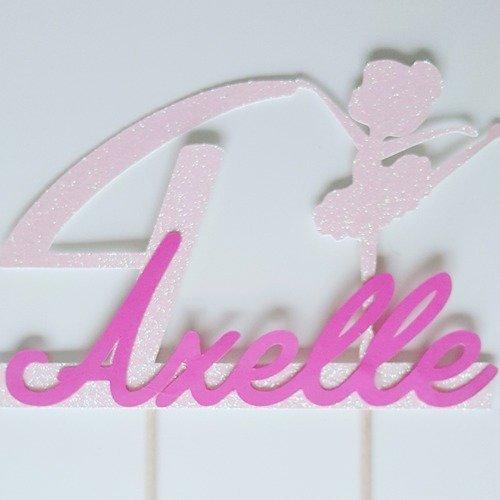 Décoration gateau - cake topper danseuse rose pailletée + age+prenom rose fuchsia -fete anniversaire enfant