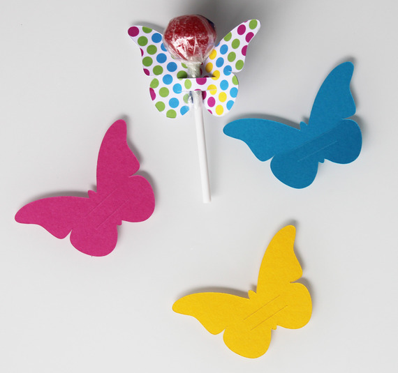 10 papillons en papier cartonné pour sucettes - décoration de table de fête