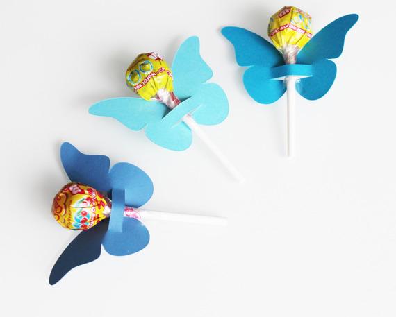 10 papillons en papier cartonné pour sucettes - décoration de table de fête - bleus