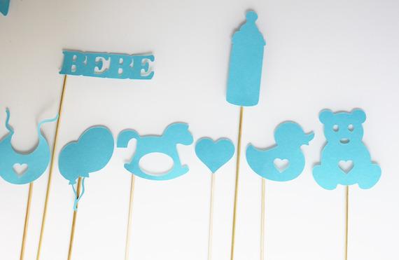 12 éléments photobooth pour baby shower  - garçon - bleu