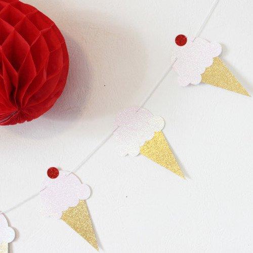 Guirlande de glaces -rose pale à paillettes- pour candy bar, anniversaire, table de fête