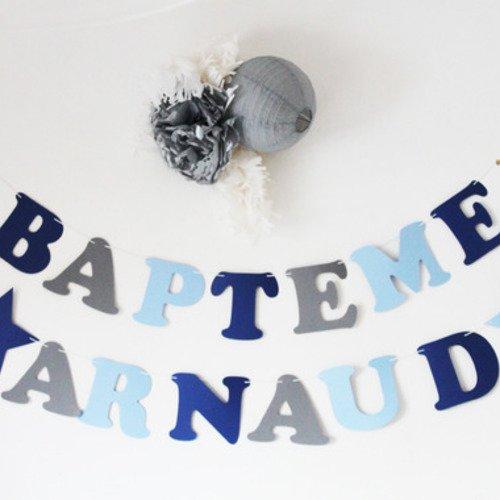 """Guirlande """"bapteme"""" + """"prenom"""" + 2 étoiles en papier sur cordon en coton enduit"""