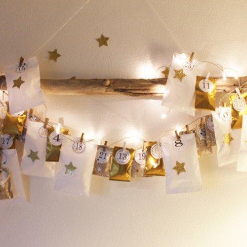 Noël : kit calendrier de l'avent or et blanc à remplir - stickers étoiles  dorées