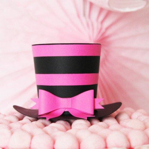 Chapeau haut de forme, noir et fuchsia + noeud- papier 210 gr