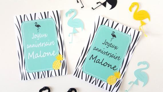 Carte flamant noir et ananas - format 10x13 cm -imprimée et personnalisée