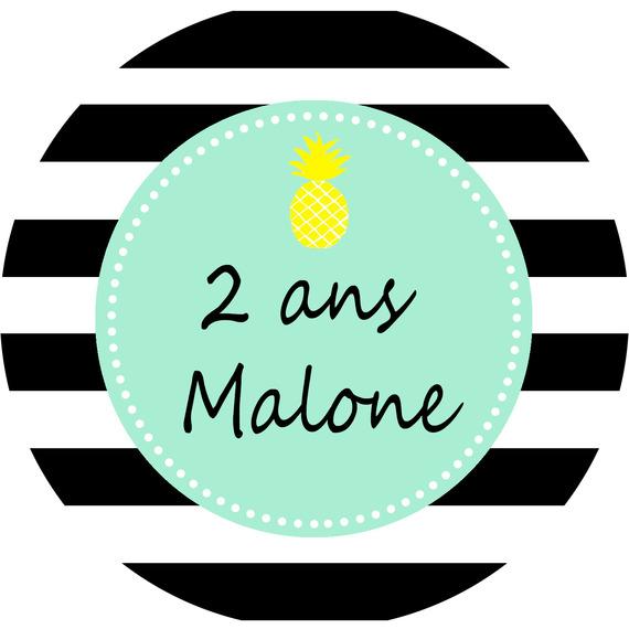 8 stickers -thème flamant noir ananas - personnalisables