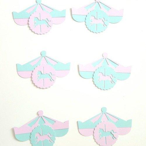 6 décorations carrousel en papier cartonné 210 gr à coller sur bonbonnières -décoration de table de fête -baptême