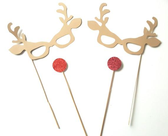 Lot de 4 accessoires Photobooth Noël -renne-nez rouge- modèle enfant