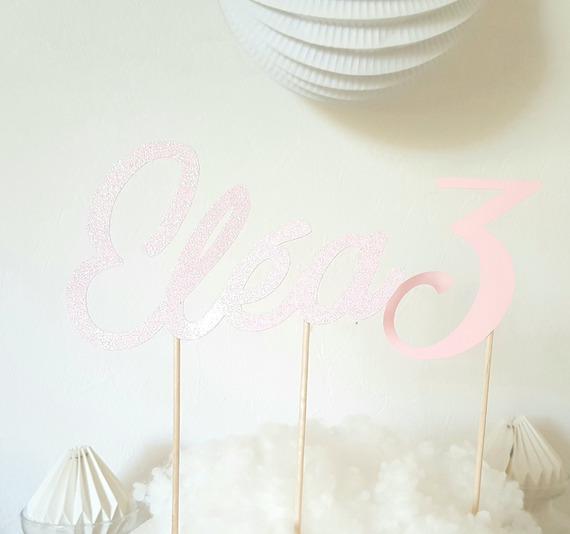 Décoration gâteau -prénom en pailleté rose+ age papier rose + licorne