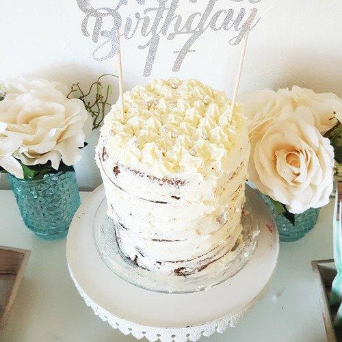 Décoration gâteau -prénom +birthday + age - topper argenté pailleté