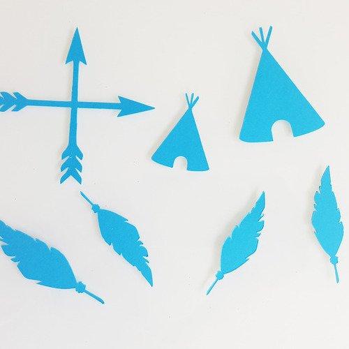 10 confettis -tipis-flèches-plumes en papier 210 gr- bleu  et gris acier- décoration pour table de baptême